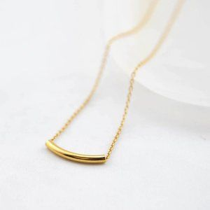 Gold Curved Tube Necklace